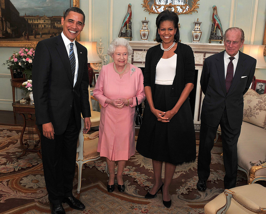 In April 2009, Barack and Michelle Obama met with Queen Elizabeth II and Prince Philip at Buckingham Palace.