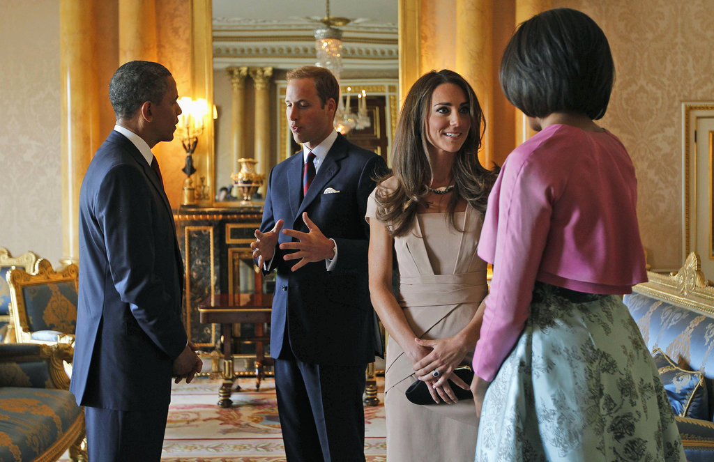 The Obamas met with the Duke and Duchess of Cambridge at Buckingham Palace in May 2011.