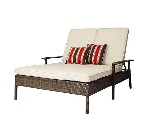 Proof that outdoor lounges aren't just for sunbathing, we'd use this Threshold Double Chaise Lounge ($384, originally $549) for front-row seating during backyard movie night.