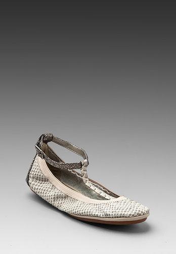 Yosi Samra Crock Strap Ballet Flat in Cream/Pewter