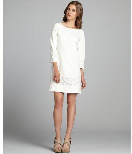 Suzi Chin white jersey knit lace trimmed three quarter sleeve dress