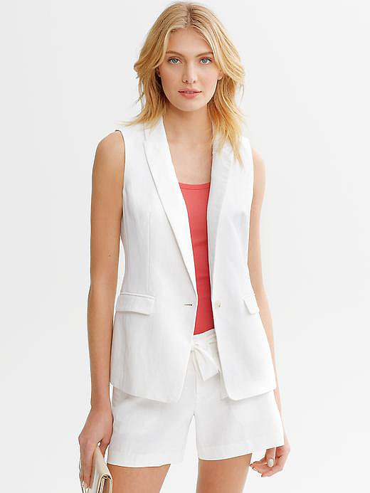 There's no need to cover up with a blazer, but Banana Republic's sleeveless linen version ($98) offers the same polished finish in a keep-cool silhouette.