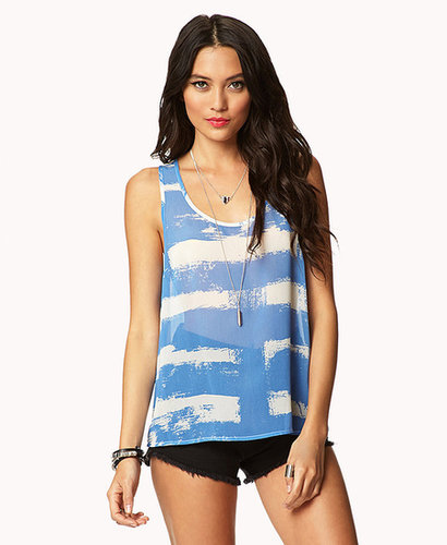 FOREVER 21 Sheer Abstract Print Tank