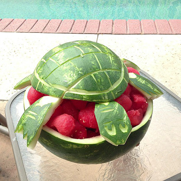 Show up to Summer pool parties with this turtle-watermelon hybrid and you'll be the star of the hour.  Source: Instagram user wetcanvas