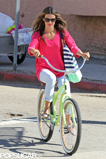 Alessandra Ambrosio was a picture-perfect cyclist for an October 2012 Victoria's Secret shoot in LA.