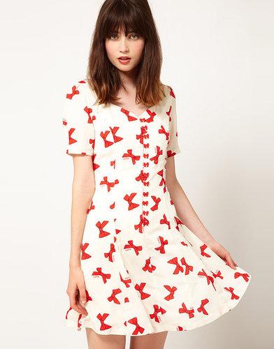 Nishe Bow Print Sweetheart Dress