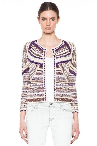 Isabel Marant Weston Lurex Cotton Crochet Cardigan in Violet