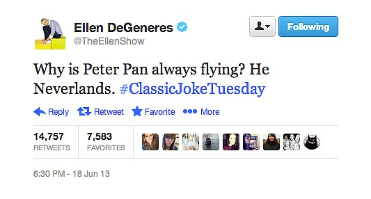 Oh, Ellen DeGeneres, your cheesy jokes get us every time.