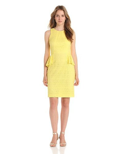 Donna Morgan Women's Lace Sheath Dress with Peplum