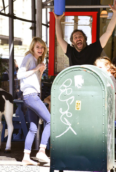 Emma Stone and Judd Apatow goofed off together after a lunch outing in NYC.
