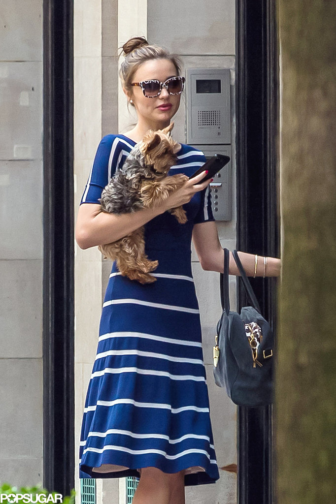 Miranda Kerr wore a blue dress.