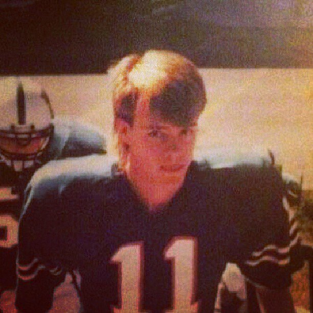 Josh Duhamel joked about his old-school mullet from a high school football picture.  Source: Instagram user joshduhamel