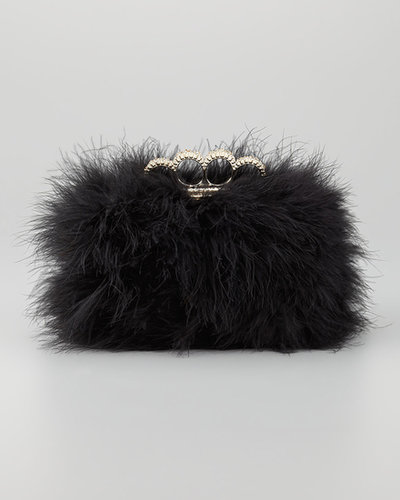 BCBGMAXAZRIA Quinn Feather Minaudiere, Black