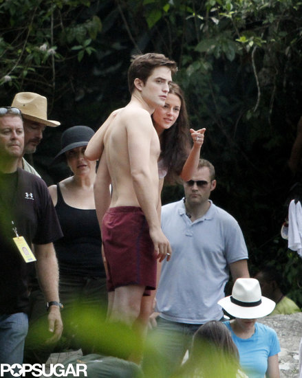 Robert Pattinson went shirtless while working in Brazil in November 2010.