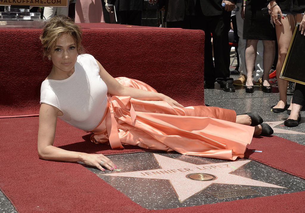 Jennifer Lopez laid by her Hollywood star on Thursday.