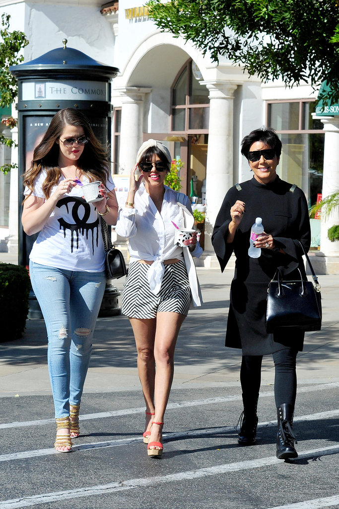 Khloe and Kourtney Kardashian, and their mum Kris Jenner, hit a frozen yoghurt bar just days after the birth of their sister/daughter Kim's baby North.
