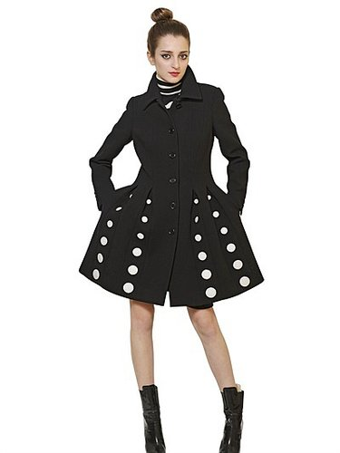 Heavy Wool Crepe Polka Dot Coat