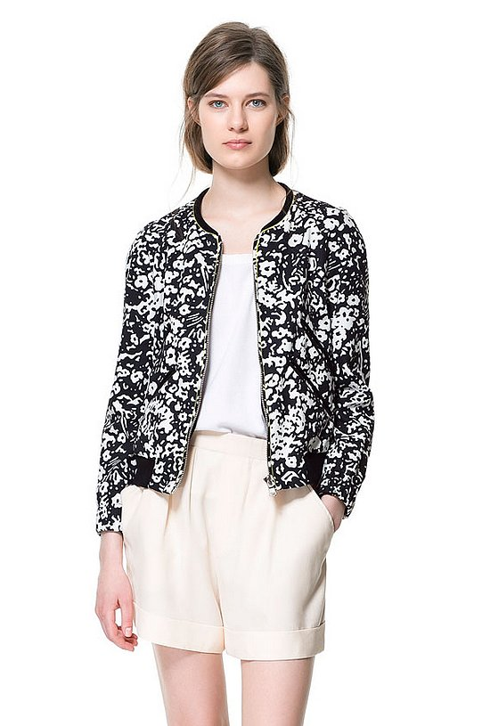 The way to get in on the black-and-white and sporty trend: this Zara bomber jacket ($70, originally $90).