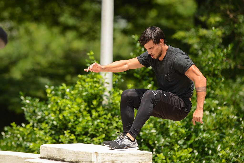 Taylor Lautner was working hard and pulling off stunts multiple days this week on the set of his new film, Tracers, in NYC.