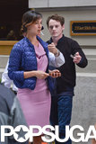 Anton Yelchin lit a cigarette for Bérénice Marlohe on the set of 5 to 7 in NYC on Tuesday.