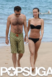 Bikini-clad Olivia Wilde and Jason Sudeikis took a dip in the water during a getaway to Hawaii in May 2013.