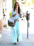 Alessandra Ambrosio colored the streets of LA's Brentwood neighborhood in a minty pleated maxi skirt, a chambray Sam & Levi shirt, mirrored Ray-Ban aviator sunglasses, and Lola James bracelets.
