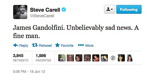 Steve Carrell paid tribute to fellow actor James Gandolfini.