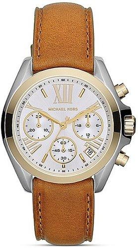 Michael Kors Mini Bradshaw Chronograph Watch in Luggage Leather, 35mm