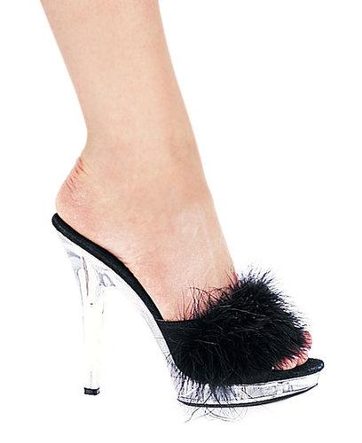 "Ellie Shoes IS-E-Sasha, 5"" Heel Maribou Slipper. Size 7-Satin-Boutique.com"
