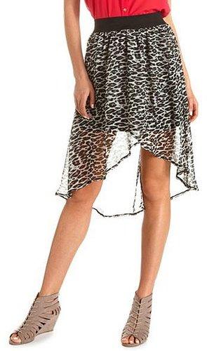 High Waisted Chiffon Hi-Low Skirt