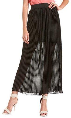 Pleated Chiffon Maxi Skirt