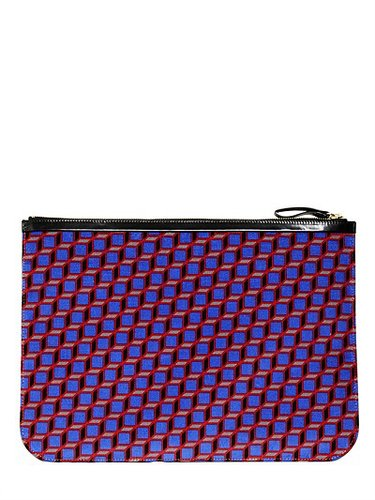 Large Cube Printed Velvet Pouch