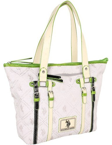 U.S. Polo Assn - Network Jacquard Tote (Pearl/Green) - Bags and Luggage