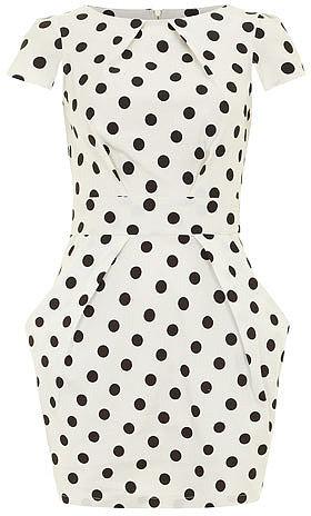 Ivory polka tie back dress