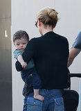 Anna Paquin held her son, Charlie, in LA.