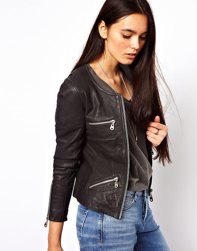 Doma Fitted Leather Jacket with Zip Detail