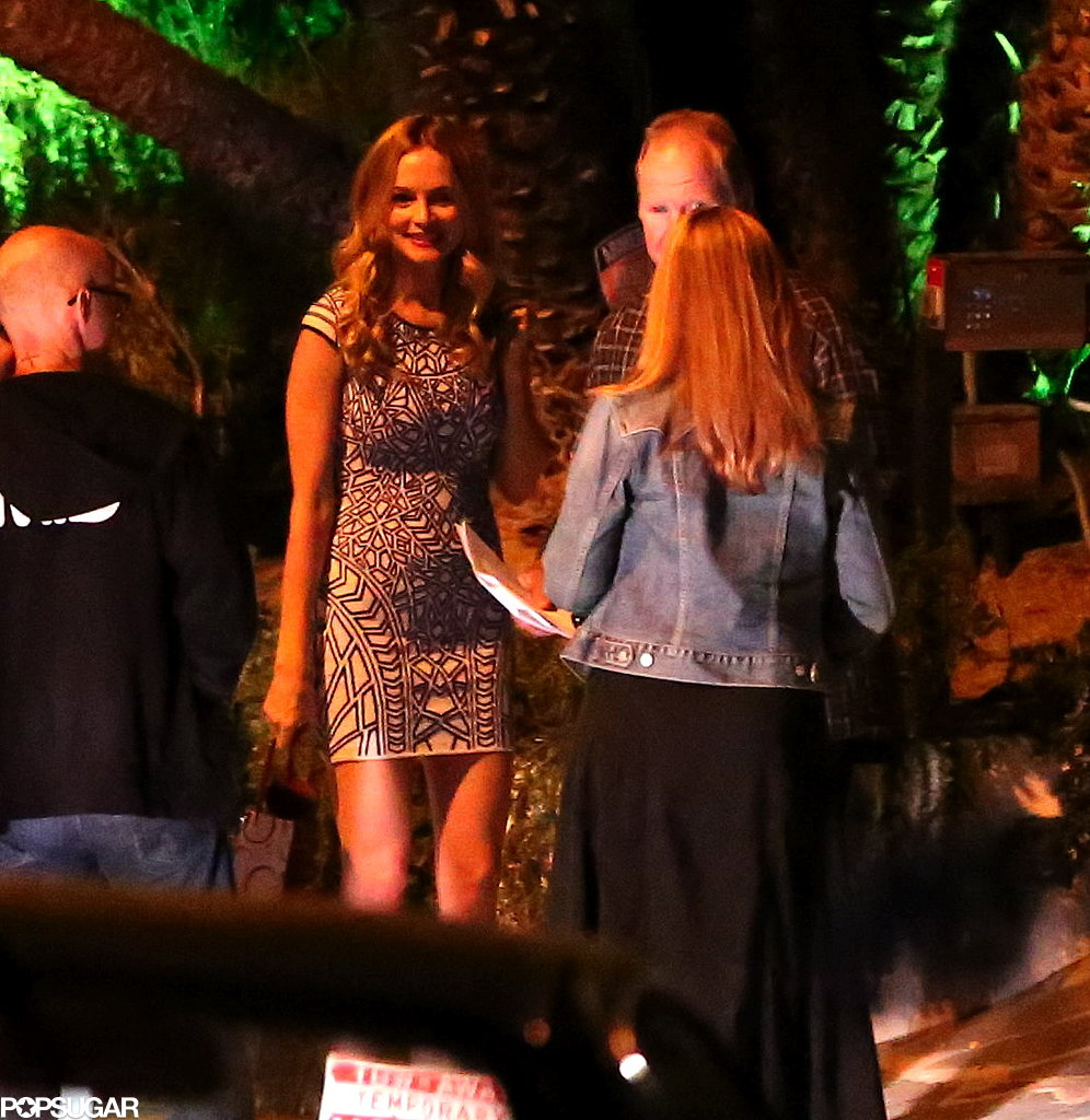 Heather Graham arrived at Robert Pattinson's party.