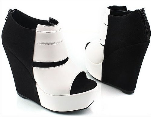 Black and white tiles color wedges shoes fashion shoes pierced fish mouth in Europe and t spell color boots_Wedge Shoes_Fashion