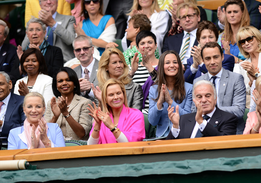 Condoleezza Rice cheered in the stands of Wimbledon on Monday with Pippa Middleton and James Middleton.