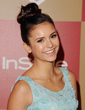 Right above the crown is the prime topknot position; just follow Nina Dobrev's example.