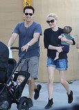 Anna Paquin and Stephen Moyer took their twins, Charlie and Poppy Moyer, out to lunch on Saturday in Venice, CA.