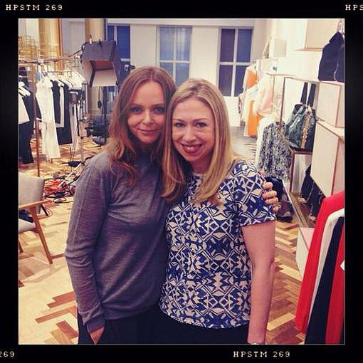 Stella McCartney posed with Chelsea Clinton in her NYC boutique. Source: Instagram user stellamccartney