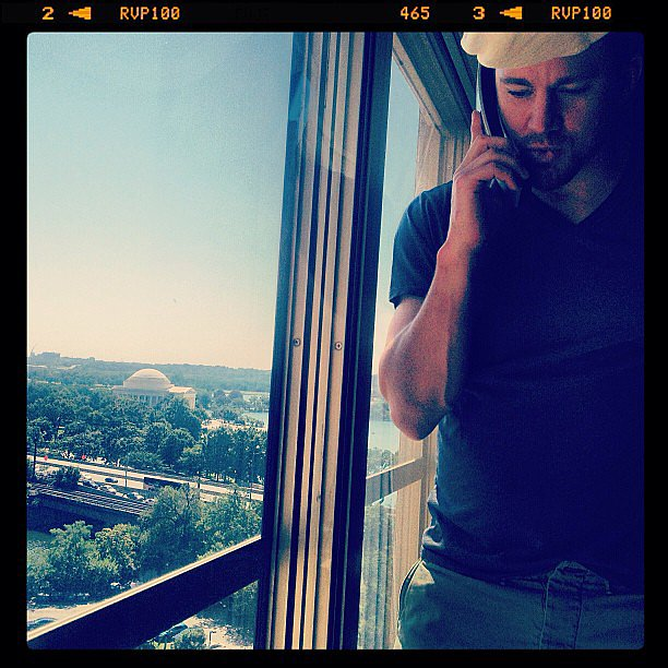 Channing Tatum did a few phone interviews before the Washington DC premiere of White House Down. Source: Instagram user channingtatum