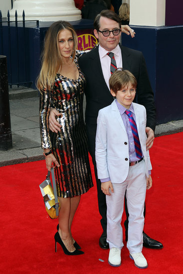 Sarah Jessica Parker attended the press event for Charlie and the Chocolate Factory with her husband, Matthew Broderick, and her son, James Wilkie, in London on Tuesday.