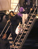 Angelina Jolie and Pax arrived on a flight at LAX.