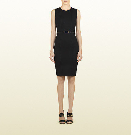 Black Shift Dress With Leather Belt