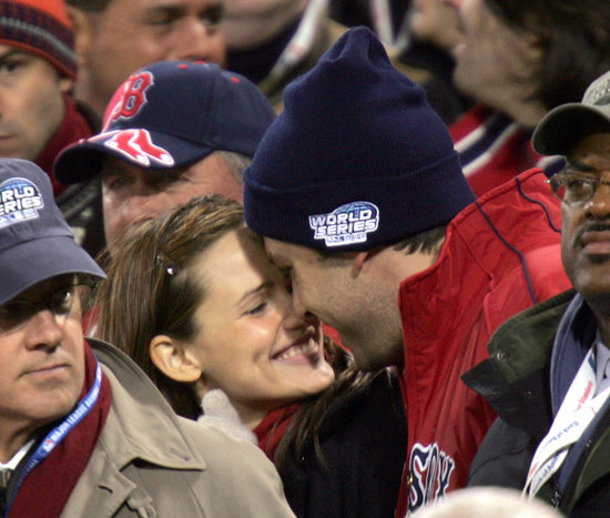 Ben Affleck and Jennifer Garner nuzzled in the stands at the October 2004 World Series during their first public appearance.