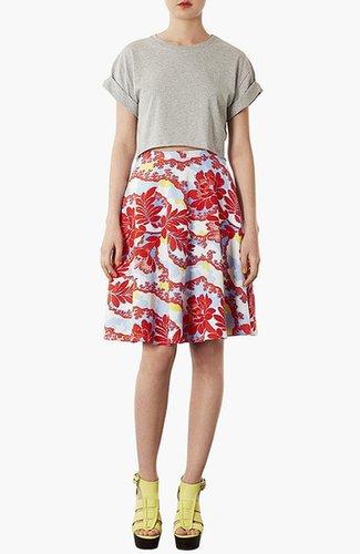 Topshop 'Portobello Calf' Skater Skirt