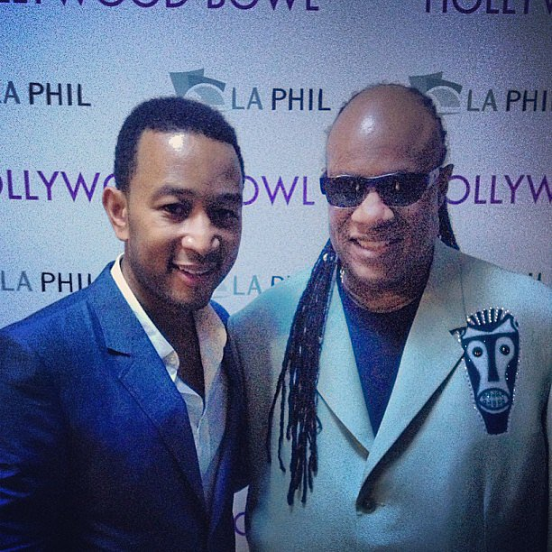 Stevie Wonder posed alongside John Legend, who was inducted into the Hollywood Bowl Hall of Fame. Source: Instagram user johnlegend