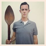 Colin Hanks posed with a giant wooden spoon. Source: Instagram user colinhanks